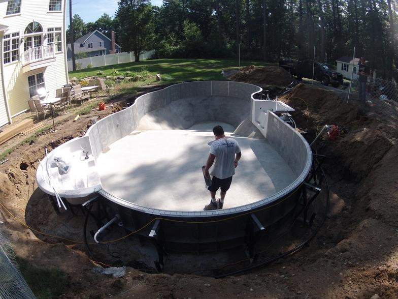 Construction Above ground swimming pools with deep end